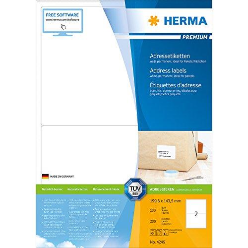 Herma 4249 Étiquettes d'adresse 199,6 x 143,5 Premium A4 200 pièces Blanc