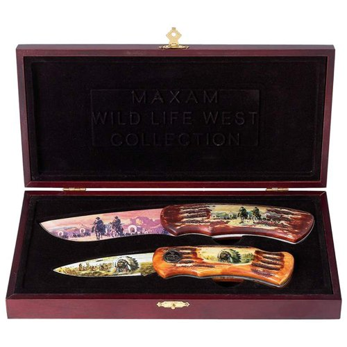 New Maxam 2Pc Wild West Knife Set Faux Antler Handle Wood Presentation Box Cowboy Frontier Scene