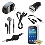 12 pc Fenzer Black Bundle Kit for Samsung Galaxy S4 Active Headphones Auxiliary Wall Car Charger USB Cable Screen Protectors