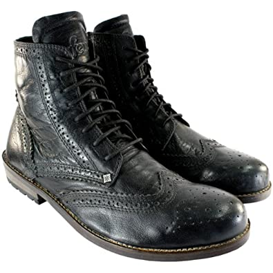 Mens Feud Britannia Gravity Military Brogue Style Ankle High Boots UK Sizes 7-12