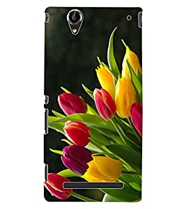 ColourCraft Lovely Flowers Bouquet Design Back Case Cover for SONY XPERIA T2 ULTRA