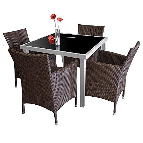 5tlg. Gartengarnitur Glastisch 90x90cm + 4x Sessel mit Sitzkissen Braun – Gartenmöbel Bistromöbel Balkonmöbel Terrassenmöbel Sitzgruppe Sitzgarnitur online kaufen