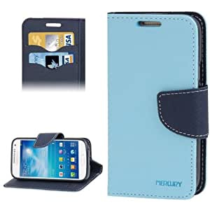 Crazy4Gadget Cross Texture Leather Case with Credit Card Slots & Holder for Samsung Galaxy S IV / i9500(Blue)