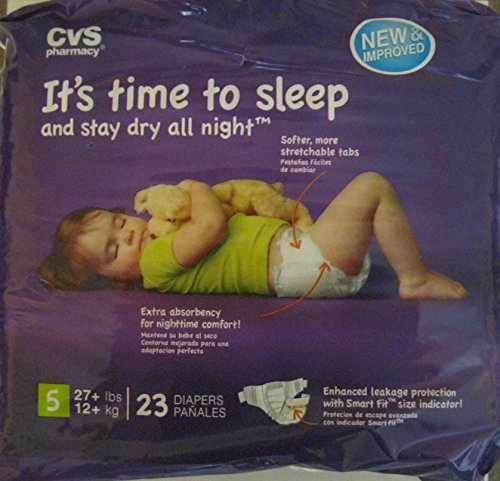 CVS Pharmacy 23-ct Disposable Overnight Diapers Size 5 (27+ lbs, 12+ kg), 1 Package - 1