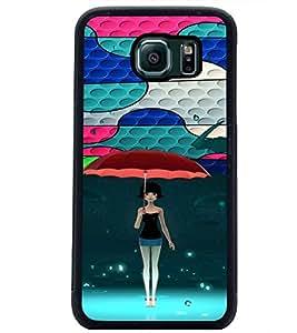 PrintDhaba Umbrella Girl D-4674 Back Case Cover for SAMSUNG GALAXY S6 EDGE (Multi-Coloured)