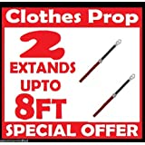 2 x Metal Telescopic Clothes Washing Line Prop Extending 140 to 250cm Adjustable