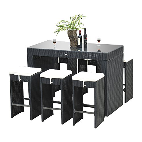 Outsunny 7pc Rattan Wicker Bar Stool Dining Table Set  : 51rUmZVhZCL from patioandfurniture.org size 500 x 500 jpeg 36kB
