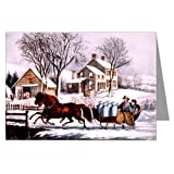 Currier and Ives Christmas Winter Morning in the Country, 1873 Greeting Card Set