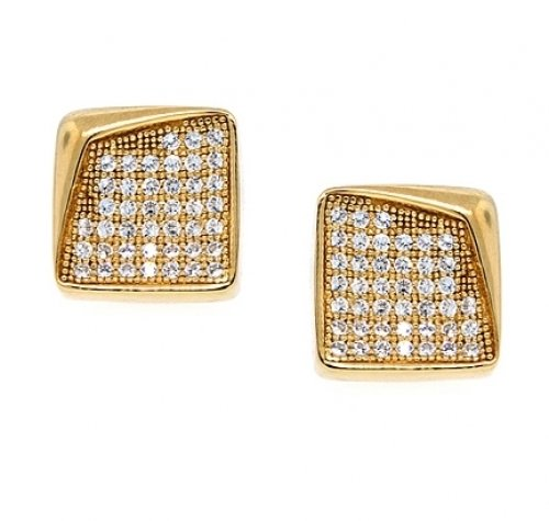Bling Jewelry Mens Gold Vermeil Bent Corner Micro Pave Stud Earrings 8mm