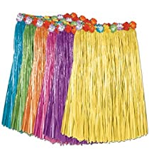 Hawaiian Adult Plastic Flowered Grass Skirt, 23-1/2 inch Long Hula Skirt, 11 Colors For Choose, Luau Party supplies