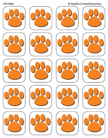 20 Pack TEACHER CREATED RESOURCES ORANGE PAW PRINT STICKERS