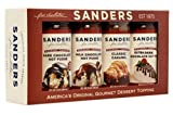 Gourmet Dessert Topping Gift Box - Sanders Original Gourmet 4 x 10 oz Jars - Rich Creamy Velvety Smooth Hot Fudge, Chocolate, Dark Chocolate and Caramel Sauces, Traditional Old Fashioned Flavors, All Natural Kosher and Gluten Free - Perfect Sundae Topping for any Sweets Enthusiast.