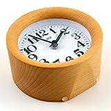 WAYCOM Classic Silent Small Wood Alarm Clock Bedside Alarm Clock with Nightlight (Wooden)