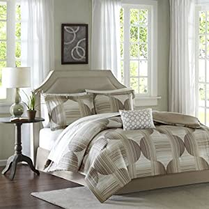 Madison Park Essentials Mercury Complete Bed And Sheet Set - Taupe - Cal.King