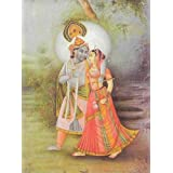 "Dolls Of India ""Radha Krishna - Divine Lovers"" Reprint On Paper - Unframed (40.64 X 29.84 Centimeters)"