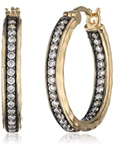 Bronze and 18K Yellow Gold Plated Two-Tone Simulated Diamond Hammered Hoop Earrings from PAJ, Inc