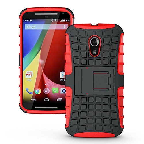 Flip Kick Stand Dual Armour Back Case Cover For Motorola Moto G2 Moto G 2nd Gen XT1068 - (Red)