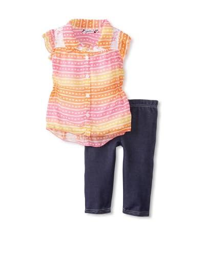 Speechless Girl's 2-6X Flutter Sleeve Capri Set  [Orange]