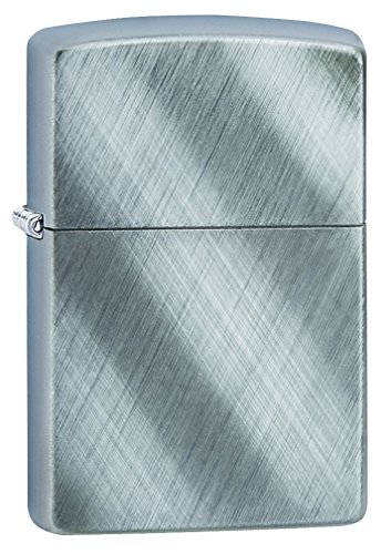 Zippo Diagonal Weave Pocket Lighter, Brushed Chrome