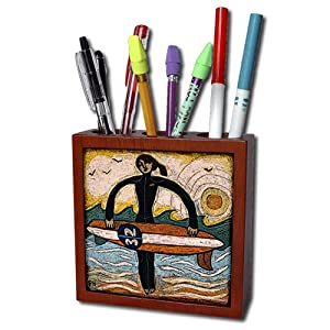 3dRose ph_23717_1 Surfer Girl poster Tile Pen Holder, 5-Inch