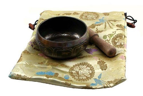 Tibetan Singing Bowl Gift Set with Ivory Bag