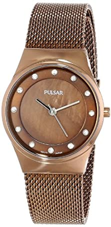 buy Pulsar Women'S Ph8055 Analog Display Japanese Quartz Brown Watch