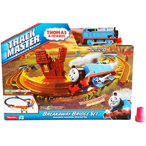 Large Fisher Price Large Motorized Action Thomas the Train & Friends Track Set and 1 Assorted Stamp - Track Master Breakaway Bridge Set (Connectable, Expandable Motorized Play)
