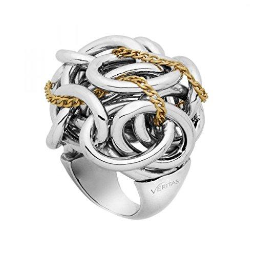 Anello in argento rodiato e oro giallo Veritas Pianegonda