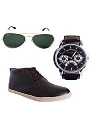 Elligator Stylish Brown Shoes & Watch With Elligator Sunglass For Men's - B014FH7KLK