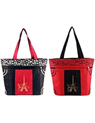 Diyaras Heavy Matty Red- Black & Black-Red Women's Shoulder Or Shopping Bag. (Pack Of 2)