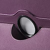 ULAK Smart Shell Case 360 Degree Rotating Folio Smart PU Leather Cover Case - Slim Lightweight Stand Cover with Auto Sleep/Wake Feature for Samsung Galaxy Tab 3 10.1 P5200 (2013 Released) -Purple from ULAK