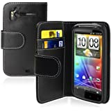 Neu Schwarz Wallet Handy Tasche Hülle Case Cover Etui für HTC Sensation 4G