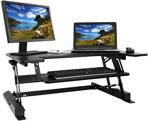 VIVO Height Adjustable Standing Desk Monitor Riser Gas Spring | Tabletop Sit to Stand Workstation (DESK-V000B) (Adjustable Standing Desk compare prices)