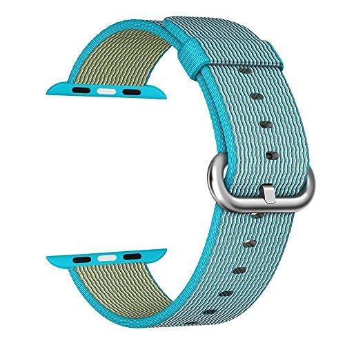 Apple Watch cinturino ,PUGO TOP Woven Nylon Replacement Wrist cinturino Bracelet Strap for Apple Watch (42mm , Scuba blu )