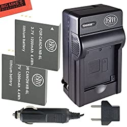 Pack of 2 NB-6L Replacement Batteries And Charger Kit For Canon PowerShot S120, SX170 IS, SX260 HS, SX280 HS, SX500 IS, SX510 HS, ELPH 500 HS, D10, D20 Digital Camera + More!!