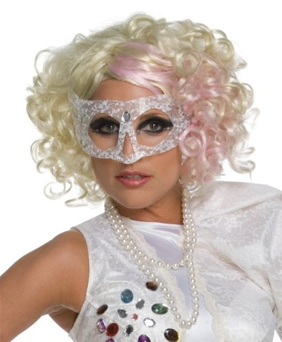 Lady Gaga Curly Blonde & Pink Wig