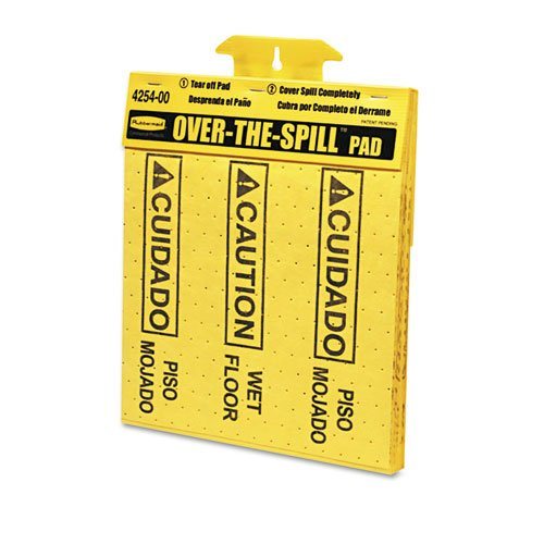"Rubbermaid Commercial Products - Rubbermaid Commercial - Over-The-Spill Pad Tablet w/20 Medium Spill Pads - Sold As 1 PD - Helps prevent accidents immediately after a liquid spill. - Slip-resistant pads quickly cover spills and alert pedestrians. - Pads are coded with universal caution symbol and ""Caution Wet Floor"" message in English and Spanish. - Bright yellow, corrugate plastic station mounts on flat surface. - Easily dispenses perforated pads."