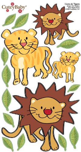 "CuteyBaby 12"" x 24"" Illustrated Wall Decals Jungle Cats, Brown/Yellow"