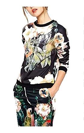 A&Z Women Bloom Flower Print Long sleeve Pullover Casual Jumper Sweatshirt Tops (S)