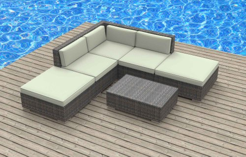 Urban Furnishing - BALI 6pc Modern Outdoor Backyard Wicker Rattan Patio Furniture Sofa Sectional Couch Set - Biege photo