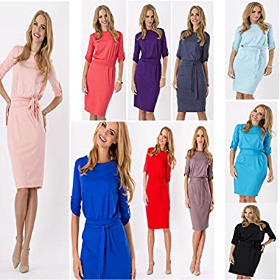 Janecrafts Women's Folded Sleeves Evening Party Work to Wear Pencil Dress