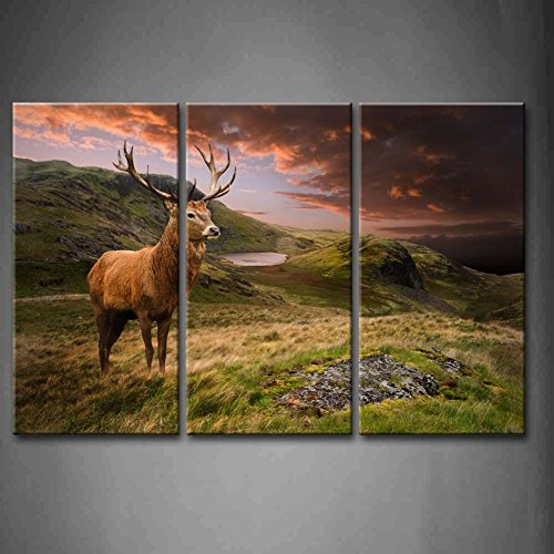 3 Panel Wall Art Red Deer Stag In Moody Dramatic Mountain Sunset Landscape Painting Pictures Print On Canvas Animal The Picture For Home Modern Decoration Piece (Stretched By Wooden Frame,Ready To Hang)