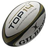 Zenon Top 14 Rugby Training Ball White/Black/Gold - size 5