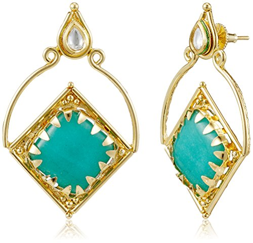 Sia Sia Art Jewellery Hoop Earrings For Women (Golden And Blue) (AZ1875) (Multicolor)