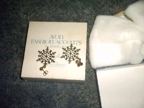 Avon Snowflake Goldtone Pierced Earrings Mint in Box