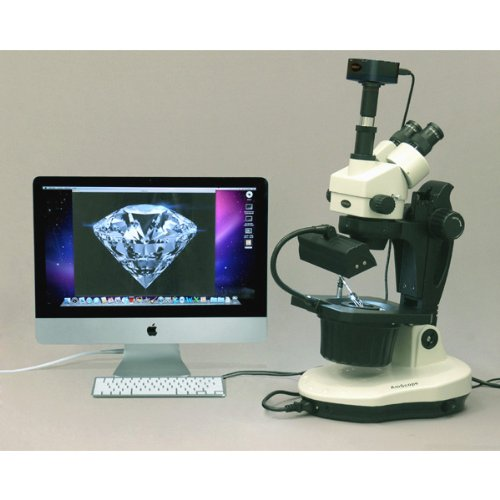 Amscope Gm400Tz-10Ma Digital Trinocular Gemology Stereo Zoom Microscope, Wh10X Eyepieces, 3.5X-90X Magnification, 0.7X-4.5X Zoom Objective, Halogen And Fluorescent Lighting, Inclined Pillar Stand, 110V-120V, Includes 0.5X And 2.0X Barlow Lenses, 10.7Mp Ca