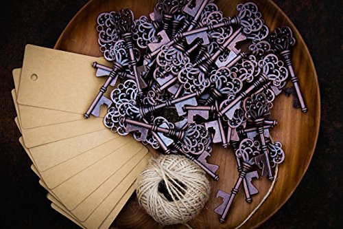Wedding Favors for Guests Party Favors Rustic Vintage Key Bottle Opener with Escort Card Tag and Twine 50 Pcs (Beach Theme Bottle Opener compare prices)