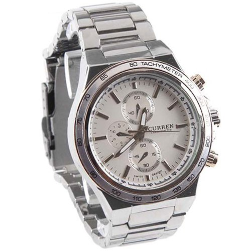 (CURREN) Elegant Stainless Steel Quartz Wristwatch Watch with Chain Style Band for Boy Man - White Dial SW7-38011