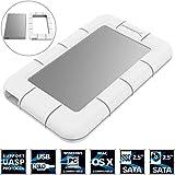 Sabrent USB 3.0 to SSD / 2.5-Inch SATA External Shockproof Aluminum Hard Drive Enclosure [Support UASP SATA III] White / Silver (EC-UM3W)