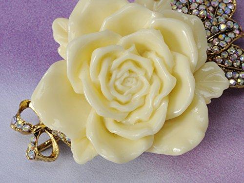 Vintage Inspired Tone Elegant Cream White Resin Enamel Rose Crystal Rhinestone Fashion Jewelry 4